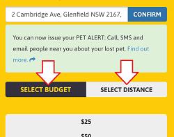 Custom Alert - Select Budget or Distance